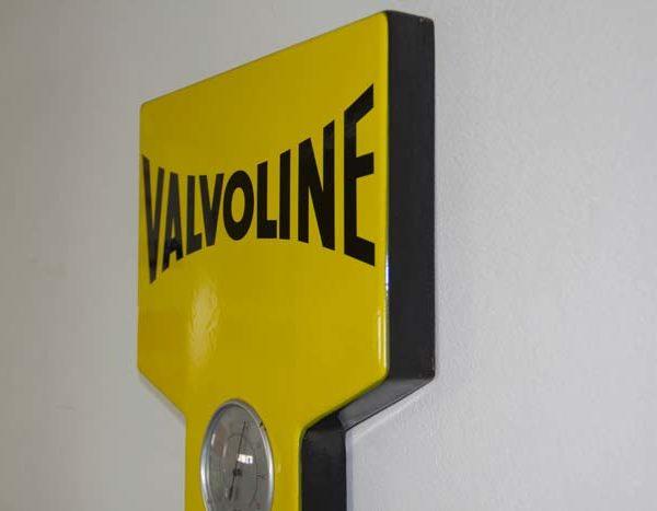 Originales Valvoline Emailschild mit Thermometer